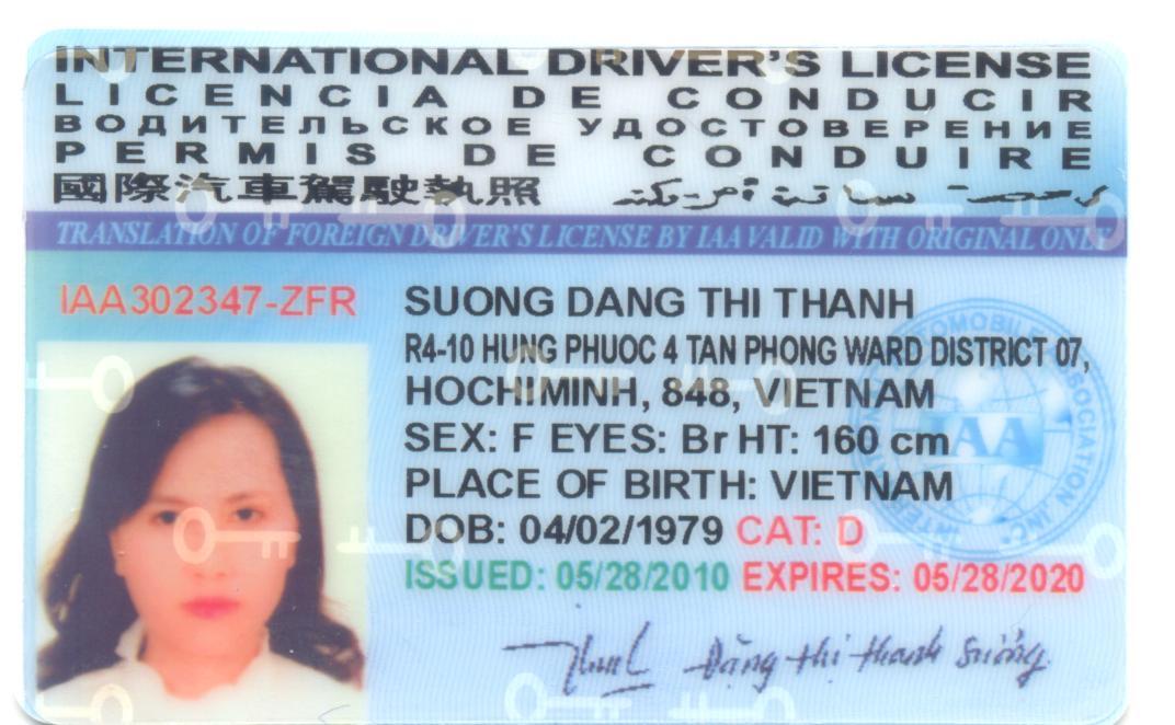 bằng lái xe quốc tế bản mẫu
